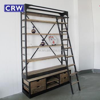 Super Antieke Gesneden Boekenkast Met Kast Base Boekenkast Met Ladder QU-79