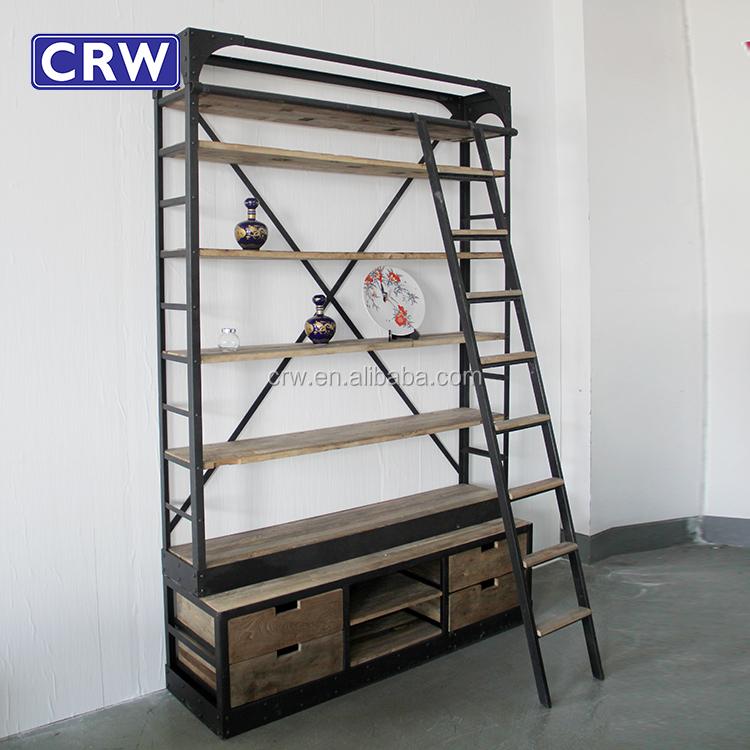 Super Antieke Gesneden Boekenkast Met Kast Base Boekenkast Met Ladder @YJ32