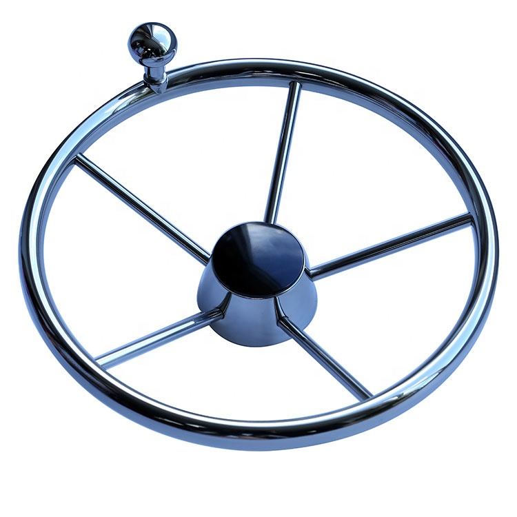"""Shaft 3//4"""" Boat Steering Wheel Stainless 5 Spoke W// Control Knob For Boats/&Yacht"""