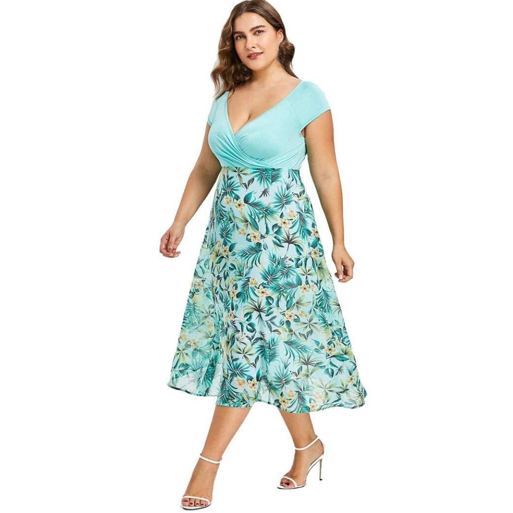 c1e93363b5 Get Quotations · Besooly Women Plus Size Dress Boho Chiffon Dress Short  Sleeve Dress Holidays Midi Dress V Neck