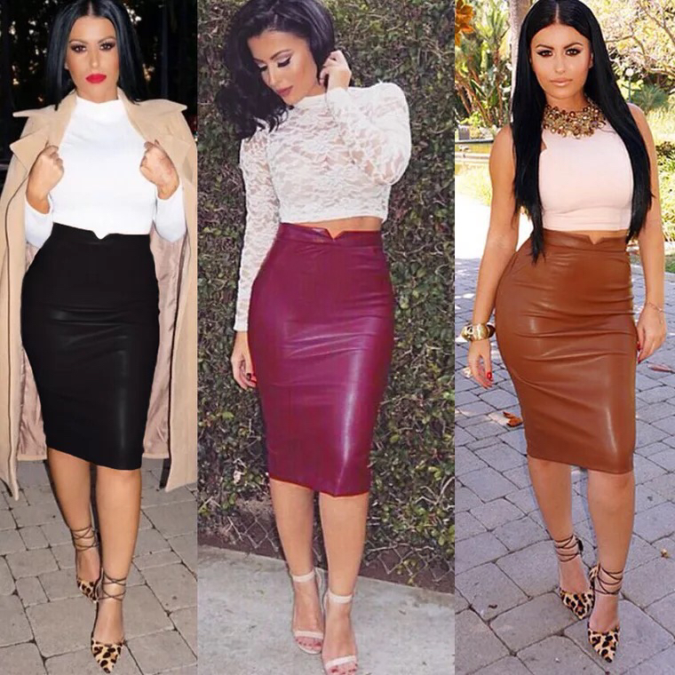 Latest Knee Length Pencil PU Lady Shiny Leather Skirt For Women Wholesale