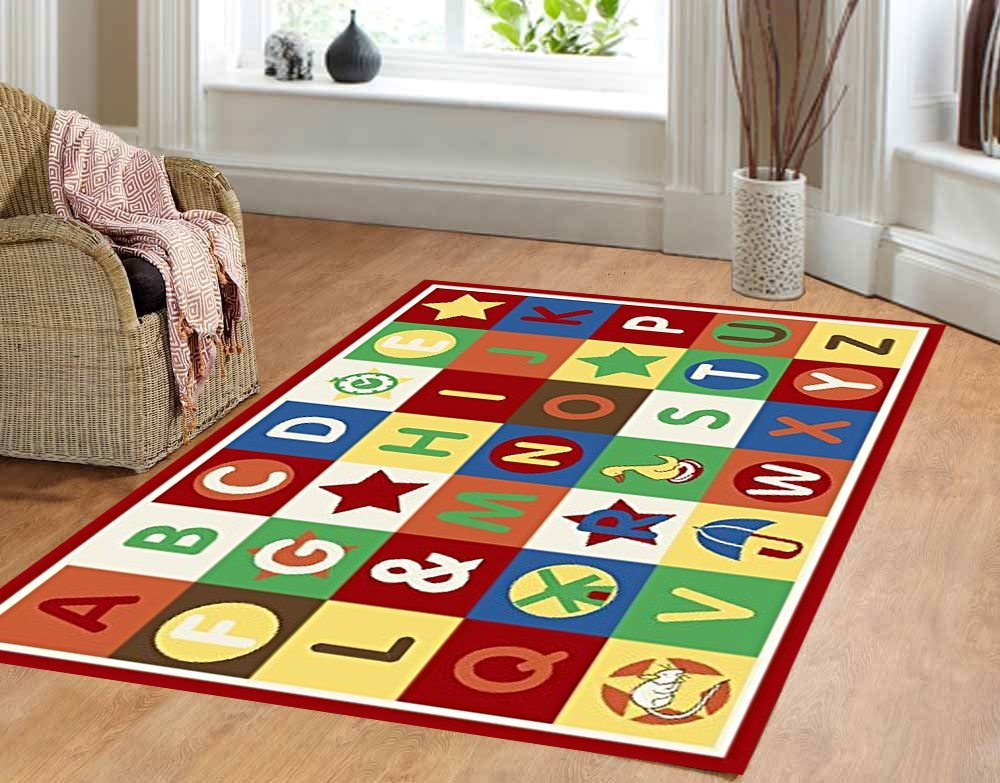 Furnish my Place 4'4 x 6'9 ABC area rug Alphabet Boxes Multicolor area rug Actual size4'4 x 6'9 Anti skid backing