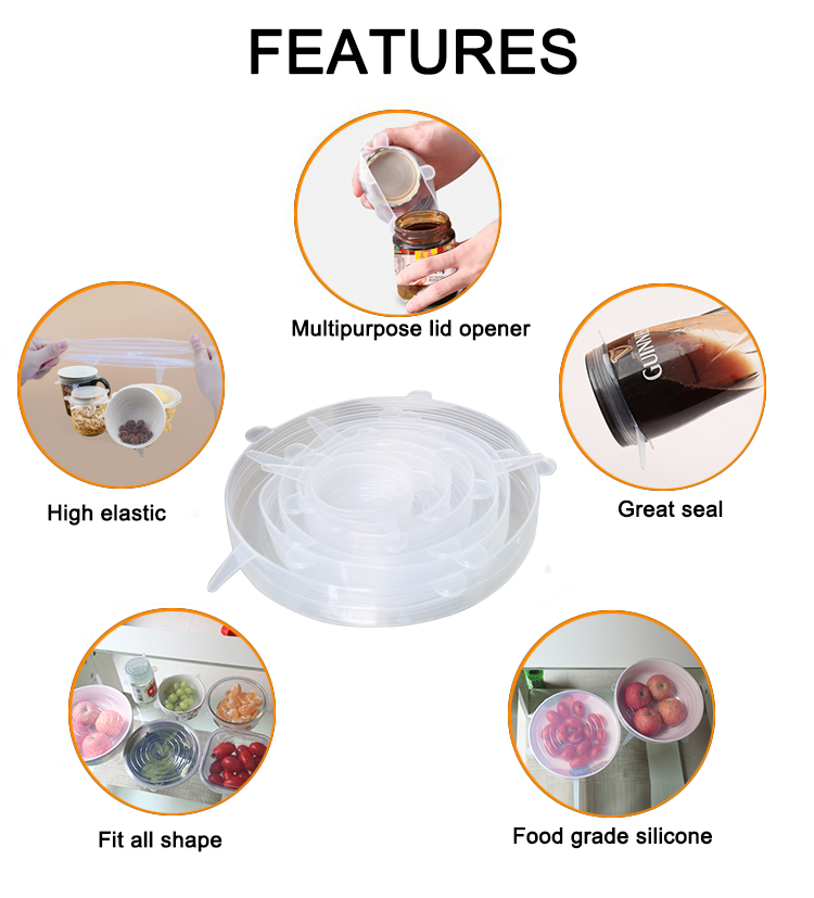 Universal Cover Set Glass Food Container Clear Silicone Lid