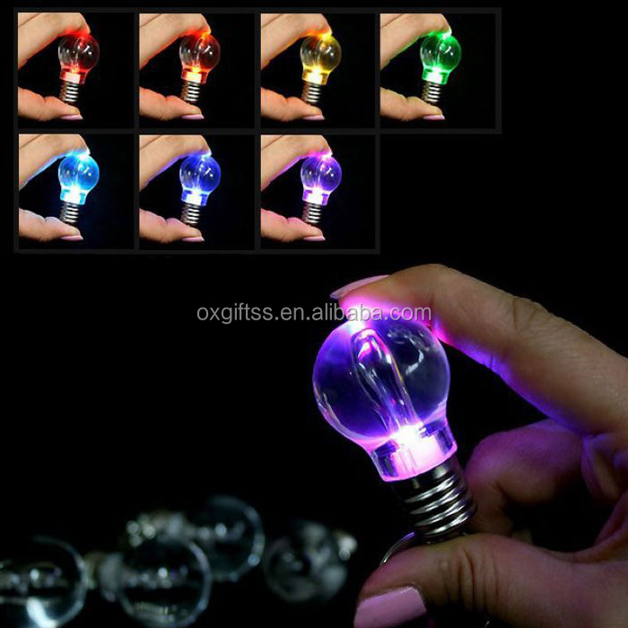 OXGIFT Made in China Alibaba wholesale Manufacture Amazon taobao Factory Acrylic LED flash colorful Glow Light bulb keychain
