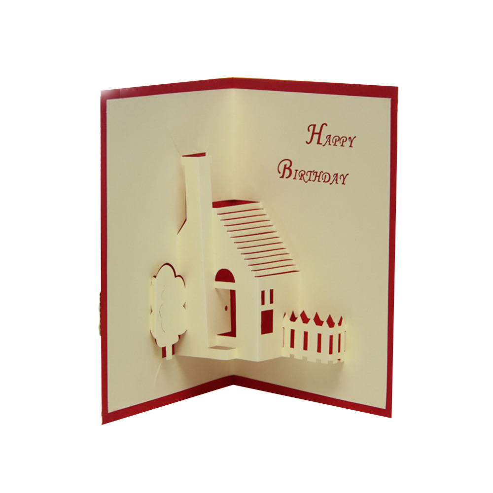 Buy Red Amp Blue Handmade House 3D Pop UP Birthday Greeting Gift Cards Free Shipping Set Of 10 In Cheap Price On Malibaba
