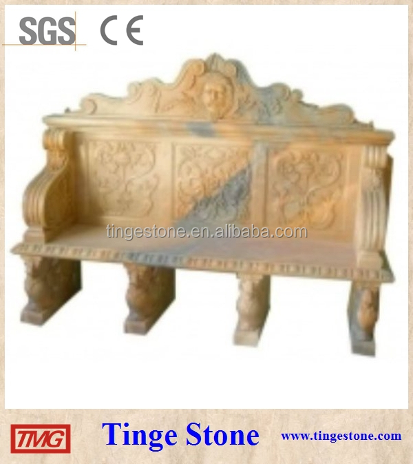 Carved garden table and benches for outdoor decoration