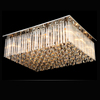 Hotel lobby square ceiling mount crystal glass pendant chandelier lamp