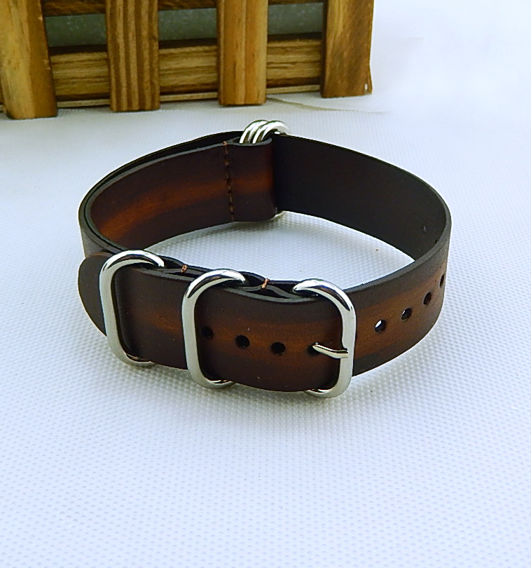 leather nato watch band with oval ring cukle, handmade color wathc strap