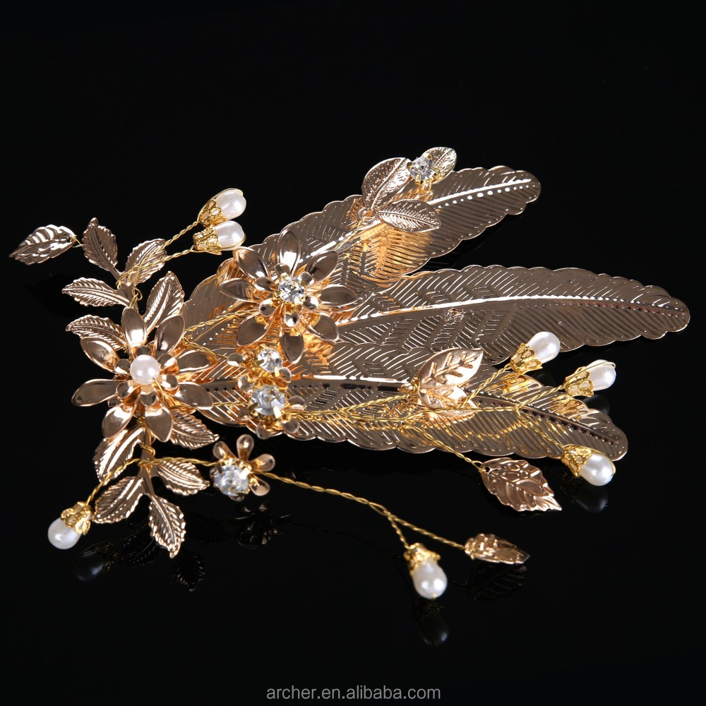 Baru Kedatangan Bunga Daun Emas Hairwear Rambut Combs Klip Jepit Klasik Hiasan Kepala Turki Perhiasan Anti Wanita Bijoux Buy