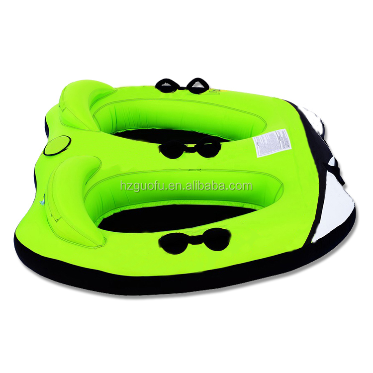 Durable PVC 2 Rider Inflatable Towable Tube For Crazy Beach Water Sports