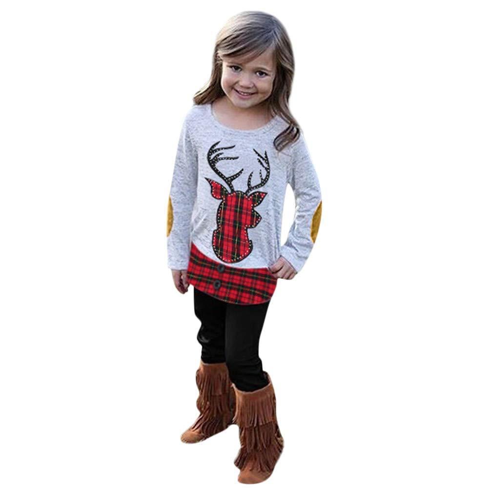 Sikye 2Pcs/ Outfit Set Kids Baby Girls Christmas Long Sleeve Deer Plaid Hem Pullover Top and Pants Clothing Set