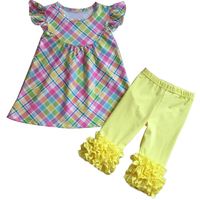 Fashion Infant & Toddlers clothing outfits with a plaid design bulk wholesale baby girl boutique clothes