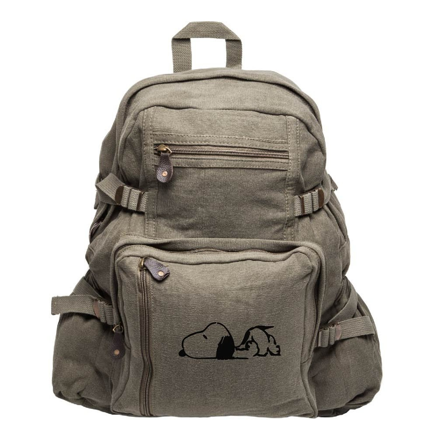 Happy Snoopy Army Sport Heavyweight Canvas Backpack Bag