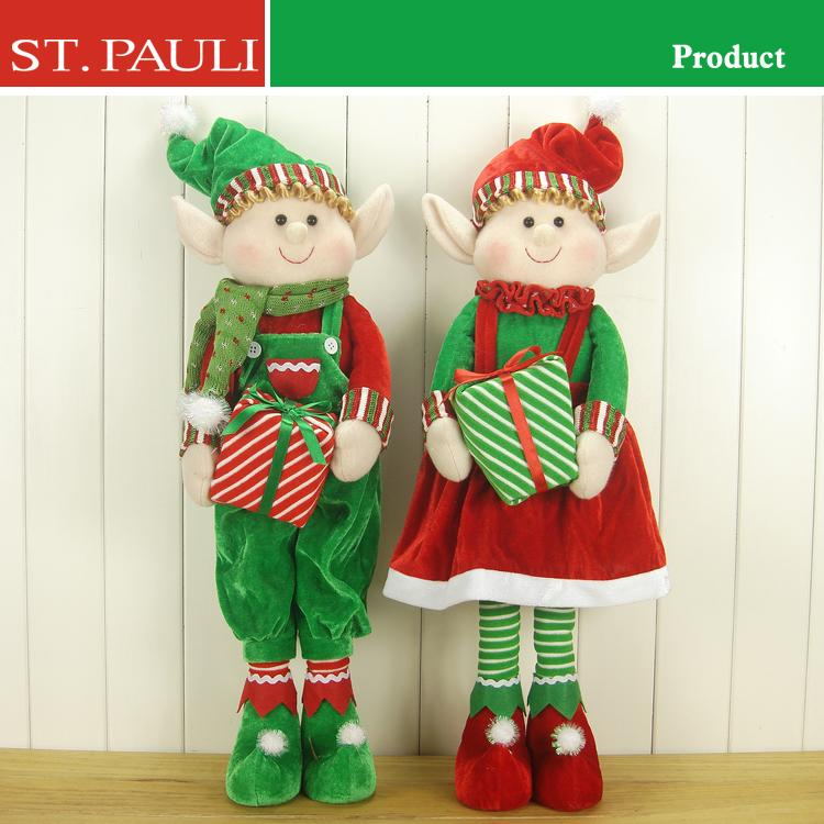 supermarket hot sale 24 inch tall red green standing christmas fabric elf with stiff legs