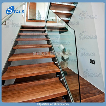 Double Plate Stainless Steel Stair Stringer Wood Stair Tread Indoor  Staircase Designs