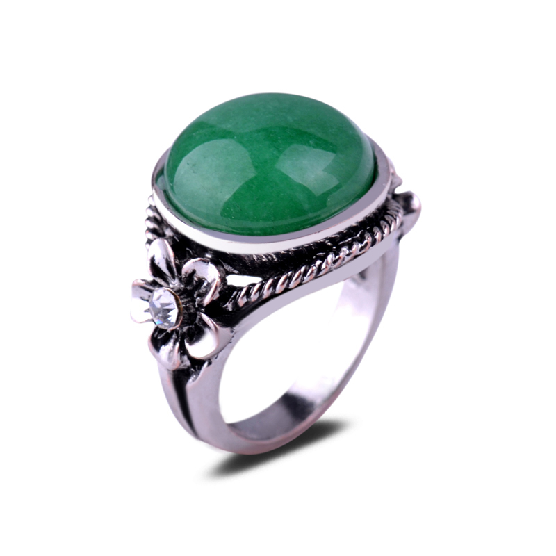 Simple Ring Designs Big Central Round Jade Embossed Flower Women's Engagement Rings Natural Emerald Ring