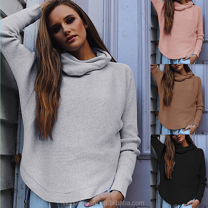 Lightweight Roll Neck Longline Jumper With Irregular Hem Women Blouse