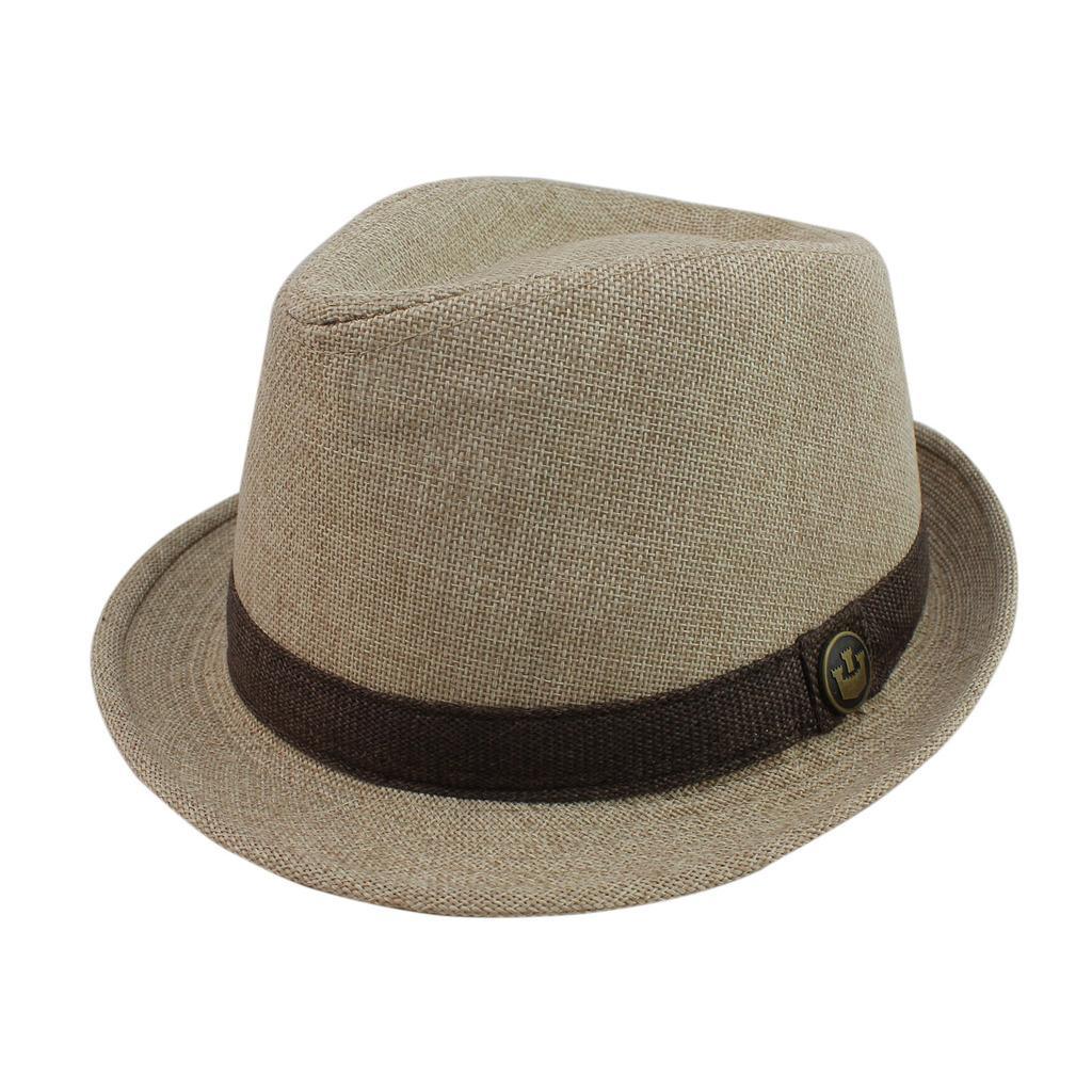 AOBRITON Mens Chapeu Fedora Jazz Hat Gentleman Woolen Wide Brim Panama Bucket Cap