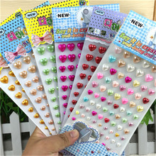 Hot Sale Scrapbook Kid Children Toys Sticker Self Adhesive 3d Acrylic pearl Heart Diy Stickers Accessories
