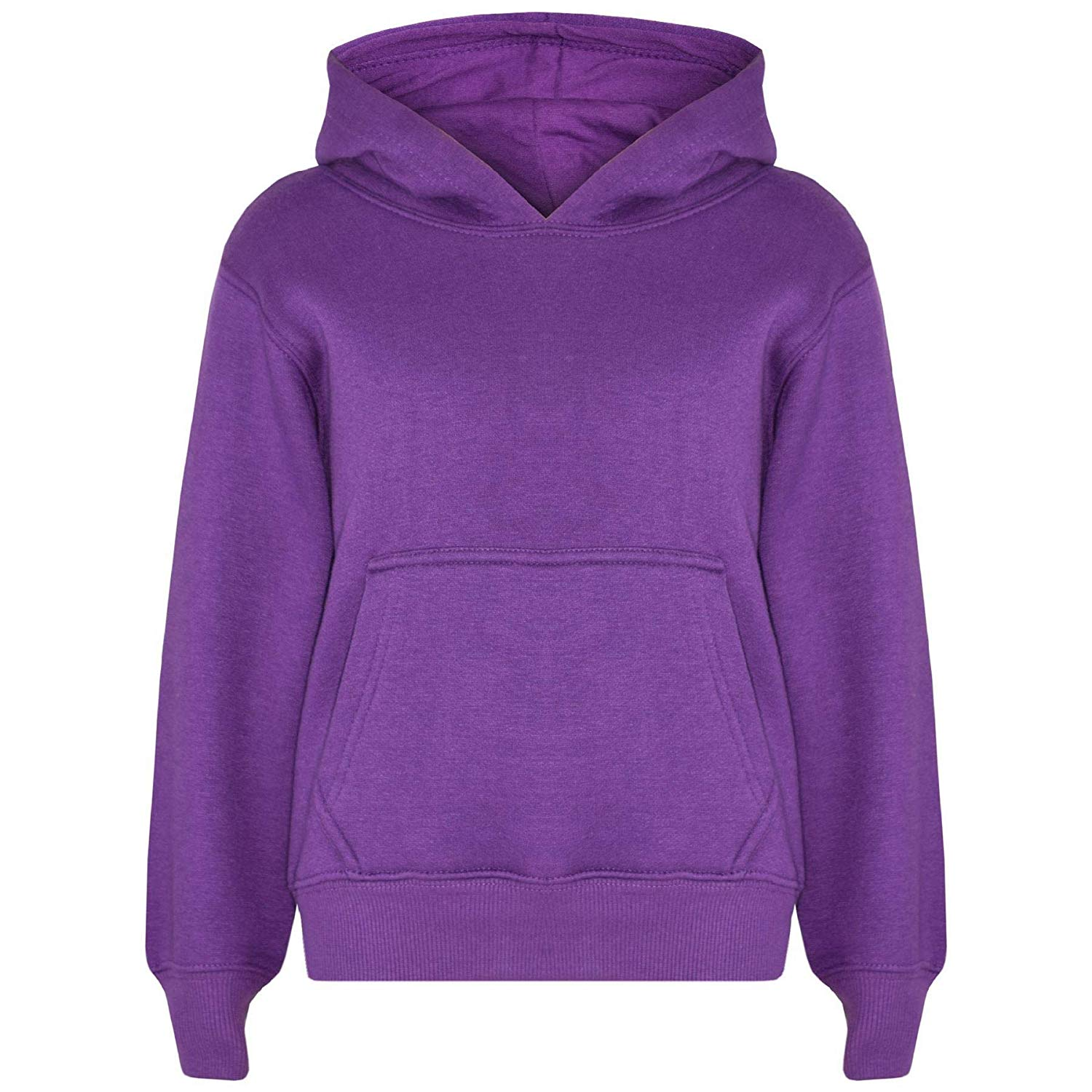 6c2246875da Get Quotations · Kids Girls Boys Sweatshirt Tops Plain Purple Hooded  Jumpers Hoodies Age 2-13 Yr