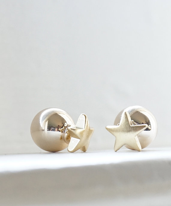 High quality double sided earrings star stude earring