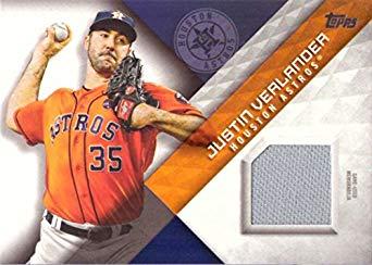 2018 Topps Relics #MLM-JL Justin Verlander Game Worn Houston Astros Jersey Baseball Card