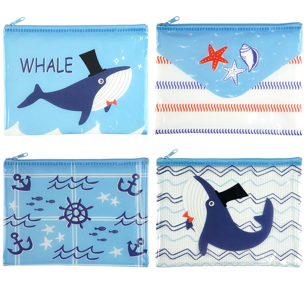 Plastic Zipper Mesh Filing Bag Document Storage Pouch Reusable Zip Folder with A5 Size Paper, Nautical Style, 4 Counts by GOCROWN