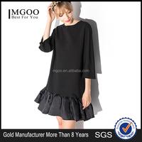 MGOO 2016 Brand Design Women Advances Apparels Plus Large Size Women Black Ruffles Winter Dress 15151C301
