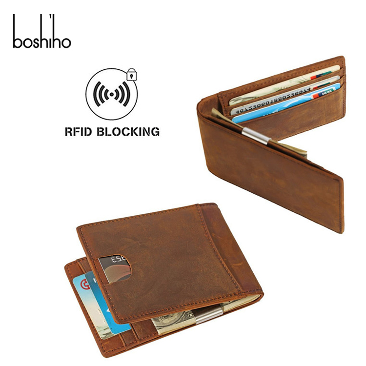 Fashion luxury OEM genuine leather mens rfid slim money clip minimalist wallet