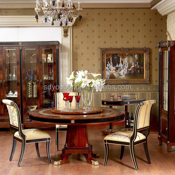 spain high end design dining room furniture set antique solid wood dining table with