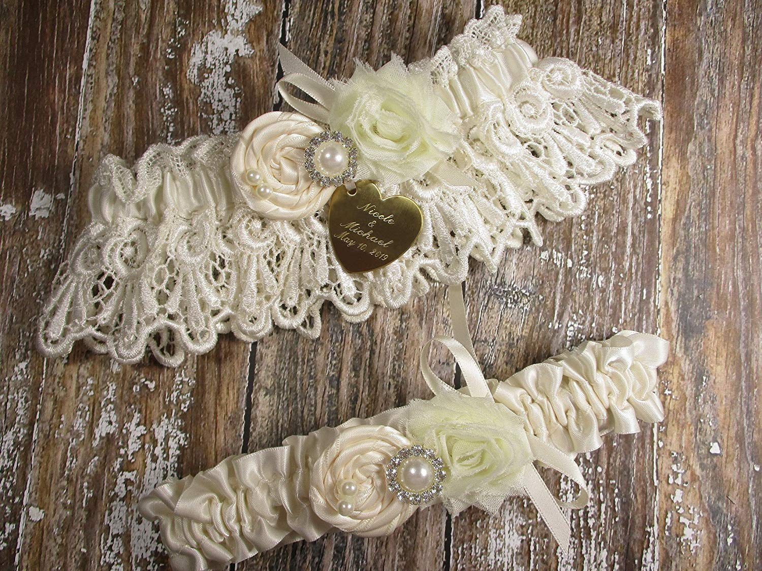 Ivory Wedding Garter Set in Lace with a Handmade Rose and Personalized Engraving