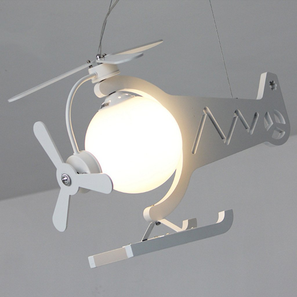 Chandelier Eye protection aircraft lights boys room LED girls creative bedroom lovely children's clothing store chandeliers A+ ( Color : White )