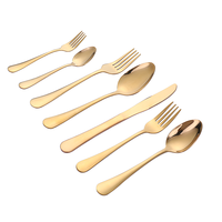 Restaurant serving stainless steel gold plated spoon fork and knife set
