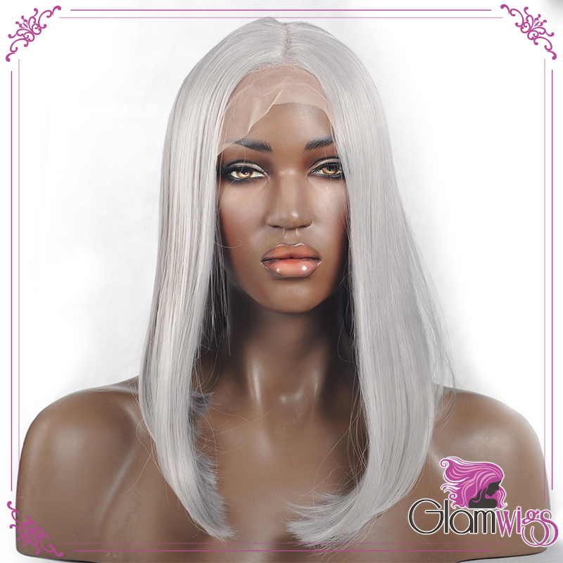 Silver Short Straight Wig Lace Front Wig Heat Resistant Grey Gray Synthetic Lace Front Wig Bob
