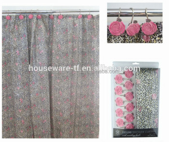 Folding Color Changing Fabric Polyester Flower Shower Curtain Suppliers Directly