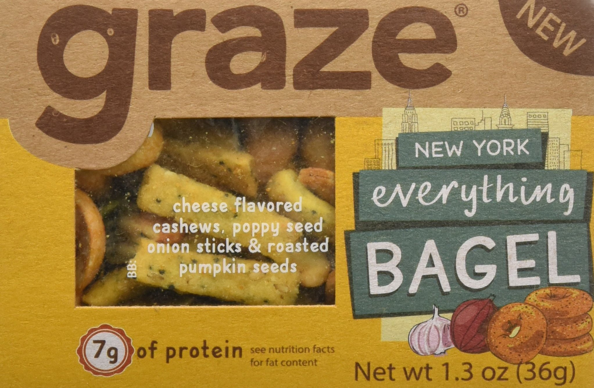 Graze Natural New York Everything Bagel Snack with Cheese Flavored Cashews, Poppy Seed Onion Sticks and Roasted Pumpkin Seeds, Tasty, Healthy, Natural Snack Mix, 1.3 Ounce Box, 9 Pack