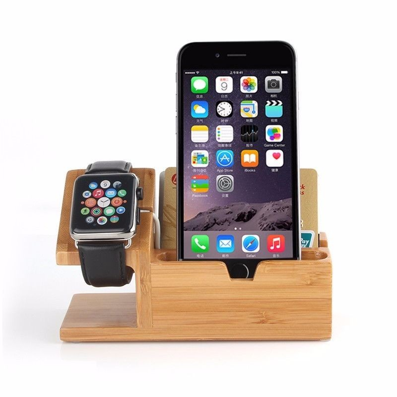 For Apple iPhone iPad Watch Charger Holder Stand Charging Dock Station Bamboo,for apple watch standard charging holder
