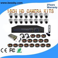 plastic indoor use digital 1080p security camera alarm system 16ch dvr kit