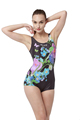 Women Sports Swimwear Boxer One piece swimsuit U back Digital Printing Female Plus Size Retro Swimsuit