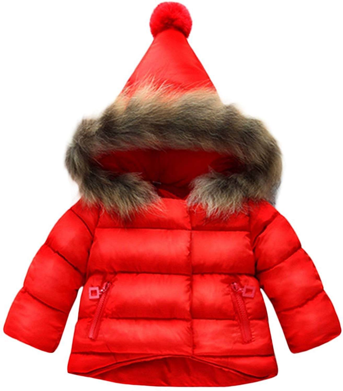Jojobaby Baby Girl Butterfly Pattern Outwear Winter Warm Hoodie Down Jacket Coat