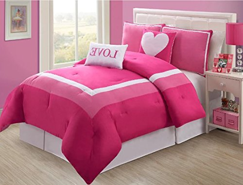 4 Piece Girls Hot Light Pink Love Twin Comforter Set, Pretty Heart Girly Bedding, Beautiful Square Border Pattern, Fun Teen Girly Bright Vibrant Colors Soft White