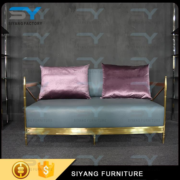 Luxury modern stainless steel Fabric sofa set living room furniture