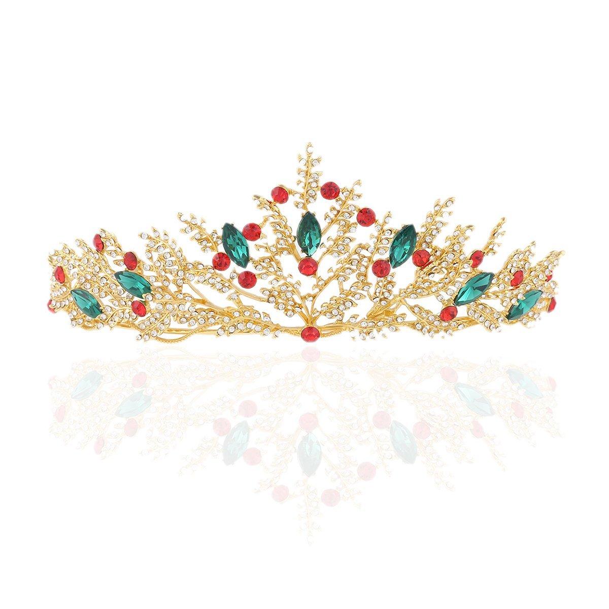 PIXNOR Wedding Tiara Crystal Leaf Crown Bridal Headband (Gold)