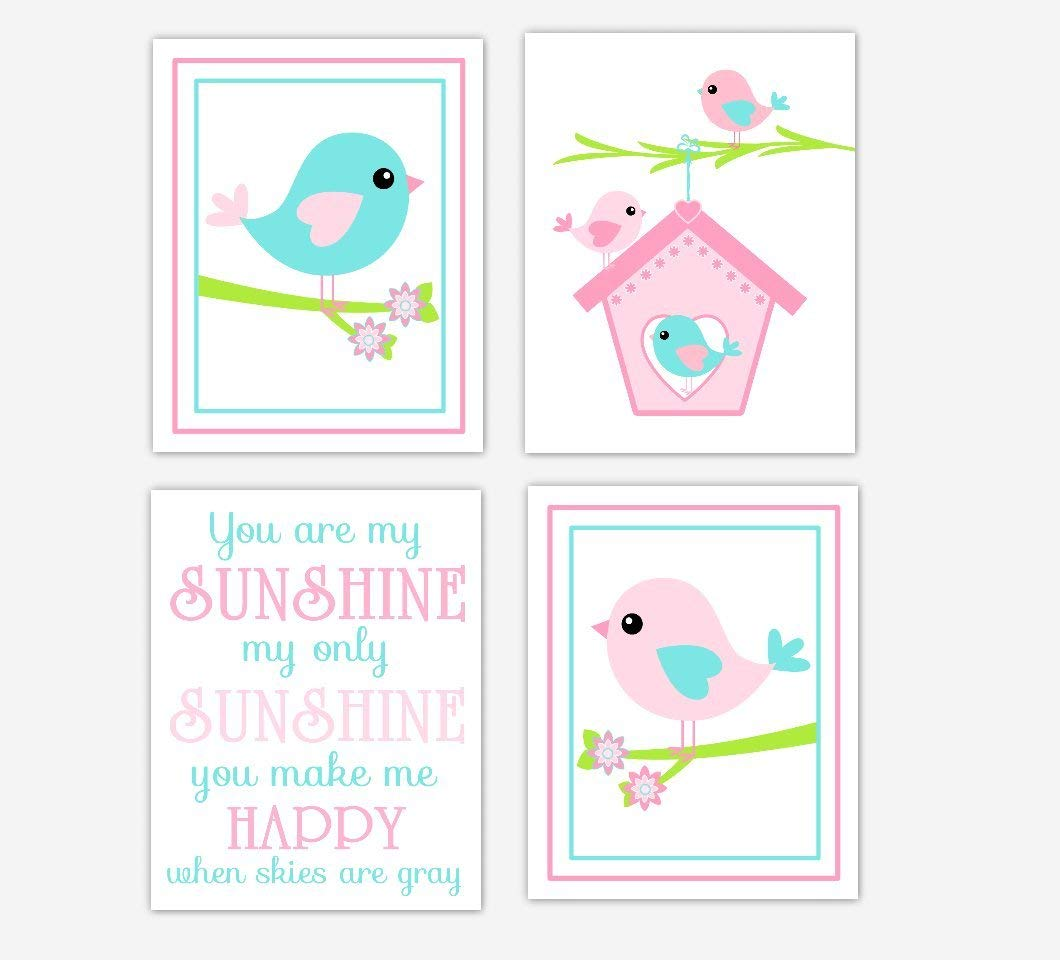 Get Quotations Pink Aqua Baby Nursery Wall Art Birds Bird House Personalize You Are My Sunshine