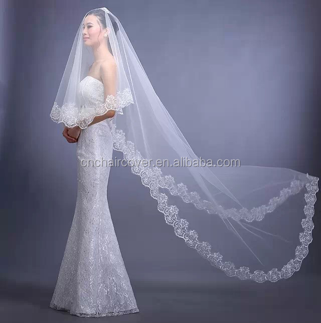 Wedding Dresses Long Veil Patterns Online Shopping French Lace Bridal Veils