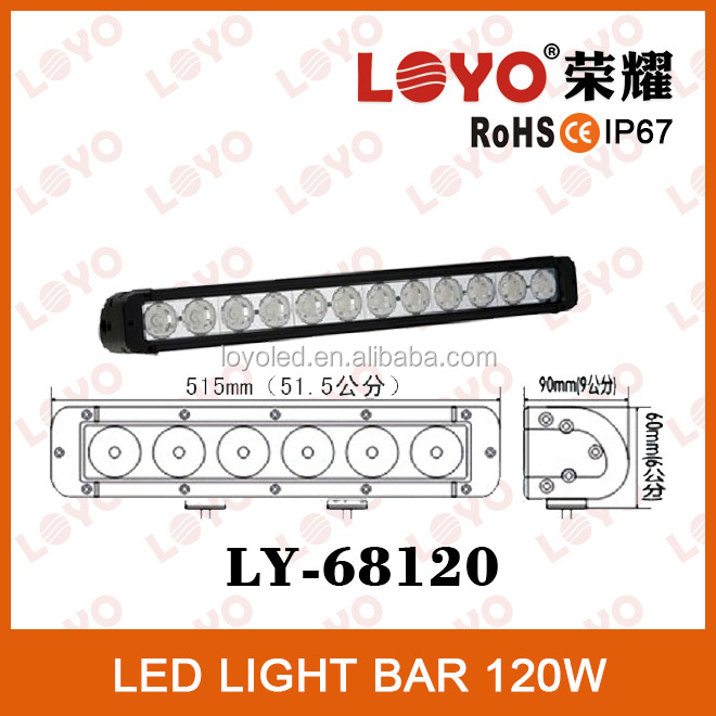120 watt led light bar flood/spot/combo beam 10-30V DC 1 row light bar