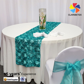 Superbe Wedding Rosette Decorative Satin Table Runner For Round Tables