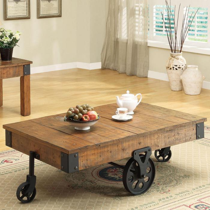 Distressed Wood Country Wagon Coffee Table With Wheels Buy Modern
