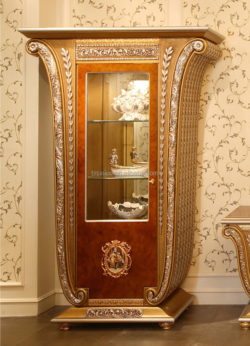 Luxury french baroque style golden four door glass display for Baroque glass door