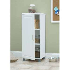 SystemBuild Single Door Storage Cabinet, Stackable, White 7369401PCOM